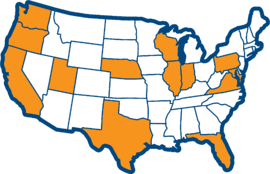 Map of the United States highlighting California, Florida, Illinois, Indiana, Maryland, Nebraska, Oregon, Pennsylvania, Texas, Virginia, Washington, and Wisconsin. Which are all states that have debt letter requirements.