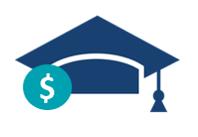 Graduation Cap Teal Dollar Sign