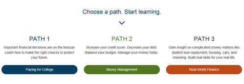 A screenshot of paths a student can choose to learn from in the GradReady tool.