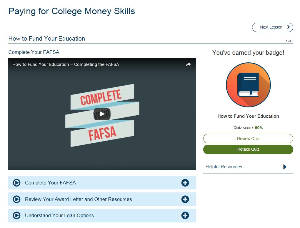 Screenshot of the GradReady student tool.