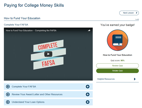 Screenshot of the student view of the GradReady tool.