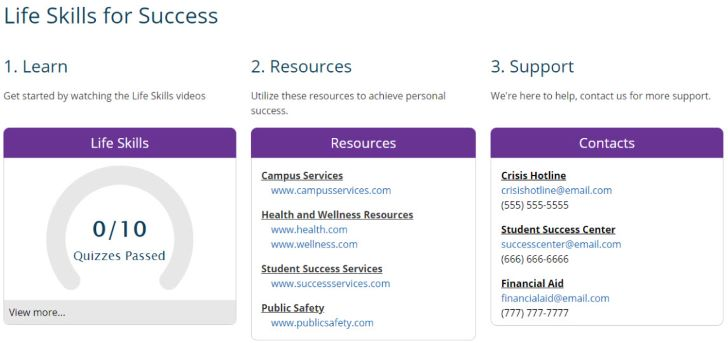 Screenshot of how to personalize GradReady to showcase resources